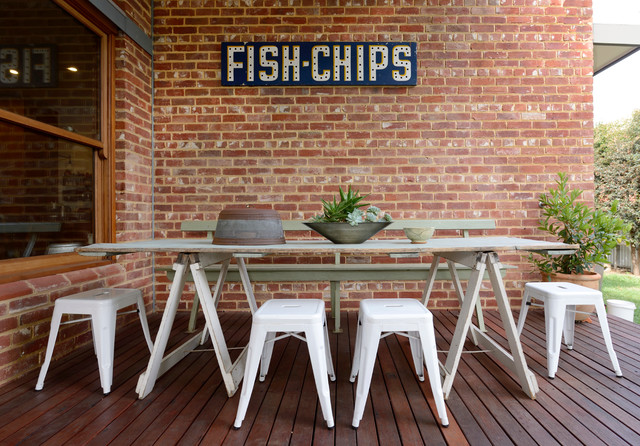Horse Stall Doors Deck with Australian Cottage Ecclectic Fish and Chips Sign Mid Century