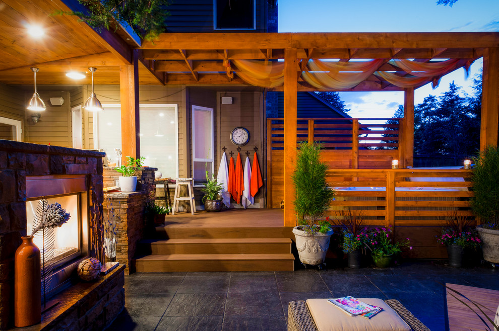 Hot Tub Enclosures Patio Contemporary with Ambiance Lighting Arbors Beige Exterior Beige Outdoor