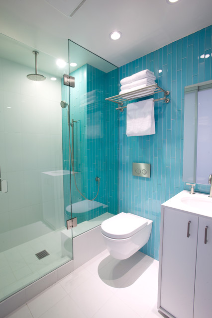 Hotel Towel Rack Bathroom Contemporary with Accent Wall Aqua Tile Bathroom Vanity Ceiling Lighting Floating