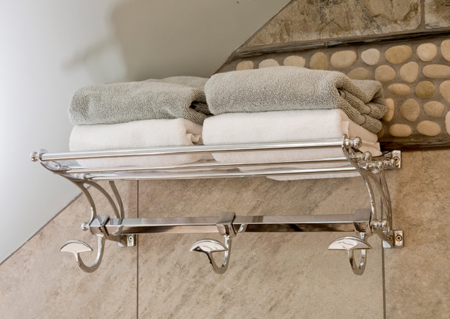 Hotel Towel Rack Bathroom Eclectic with Bathroom Sloped Ceiling Clefted Slate Hotel Shelf Island Stone