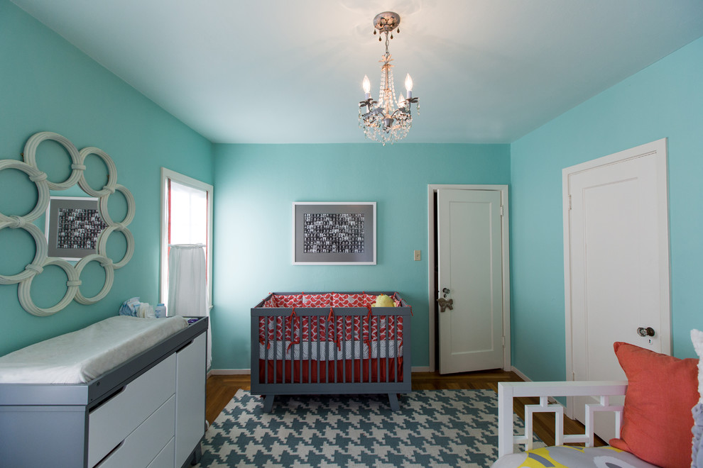 Houndstooth Rug Nursery Modern with Baby Room Blue Painted Walls Chandelier Changing