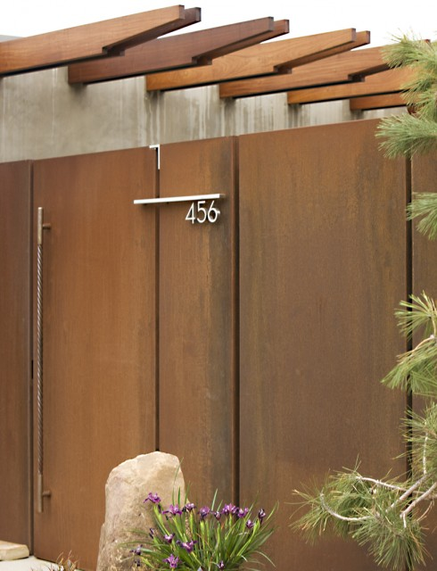 House Numbers Plaque Exterior Midcentury with Boulders Concrete Wall Cor Ten Courtyard Eaves Entrance Entry Entry