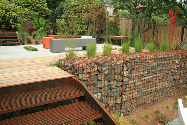 How to Build a Batting Cage Deck Industrial with Contemporary Deck Gabion Wall Grasses Gray Bench Ipe Landscape