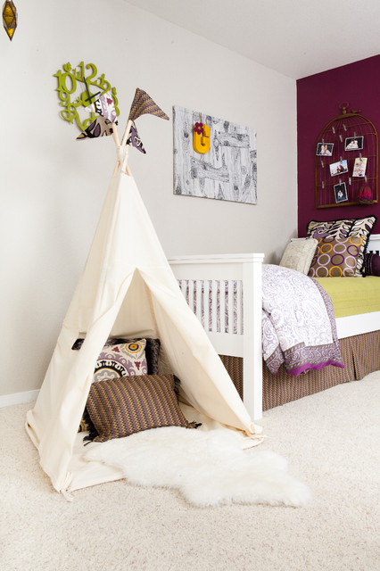 How to Build a Batting Cage Kids Eclectic with Artwork Bed Skirt Capeting Carpeting Girls Room Maroon Printed