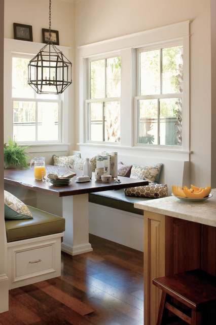 How to Build a Batting Cage Kitchen Traditional with Banquette Breakfast Nook Built in Furniture Cage Chandelier Cage