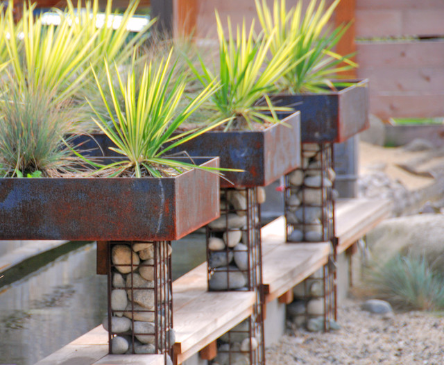 How to Build a Batting Cage Landscape Rustic with Corten Downspout Gabion Baskets Garden Art Geometric Geometry Grass