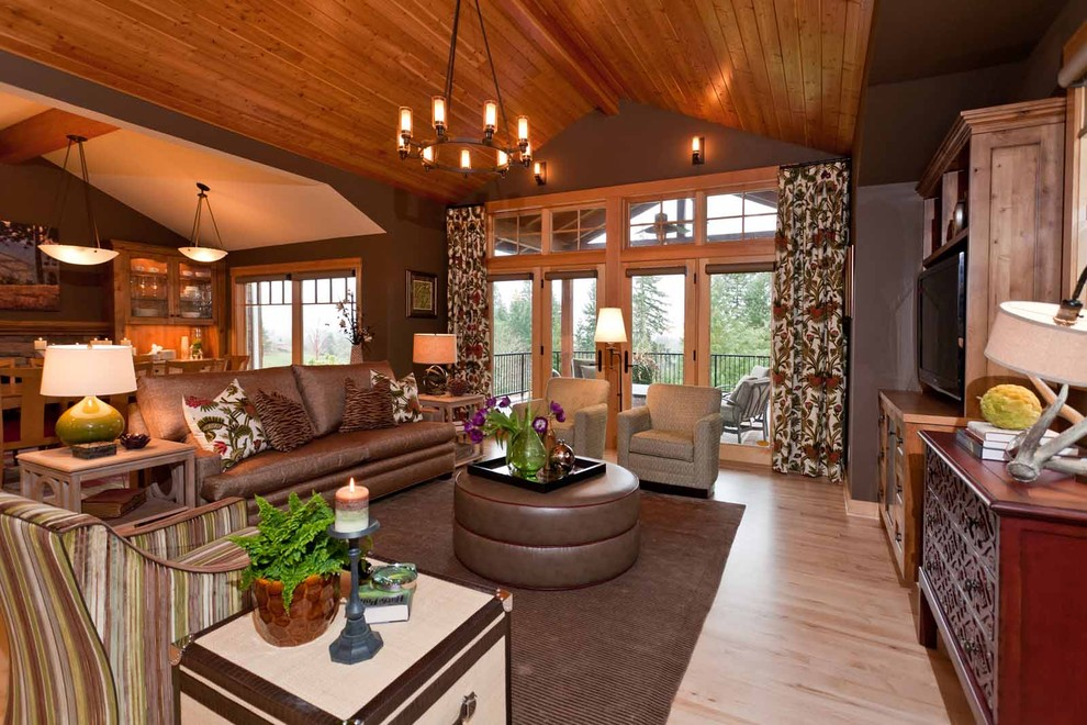 Hubbardton Forge Family Room Rustic with Area Rug Bowl Chandelier Chandelier Curtains Dark