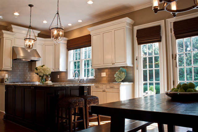 Hundi Kitchen Traditional with Hundi Lanterns and Seagrass Barstools See the Relaxed Influence