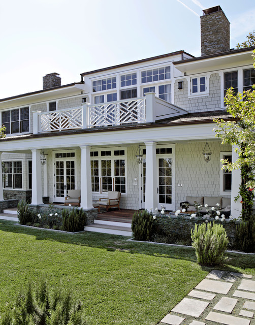 hundi Porch Traditional with balcony bell pendant Cape Cod style deck french doors