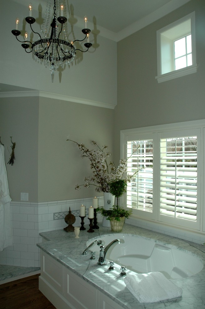 hunter douglas shutters Bathroom Traditional with carerra marble tub surround