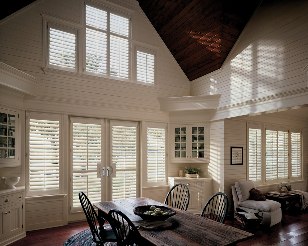 Hunter Douglas Shutters Dining Room Traditional with 2nd Story Windows Bi Fold Doors Composite Shutters1