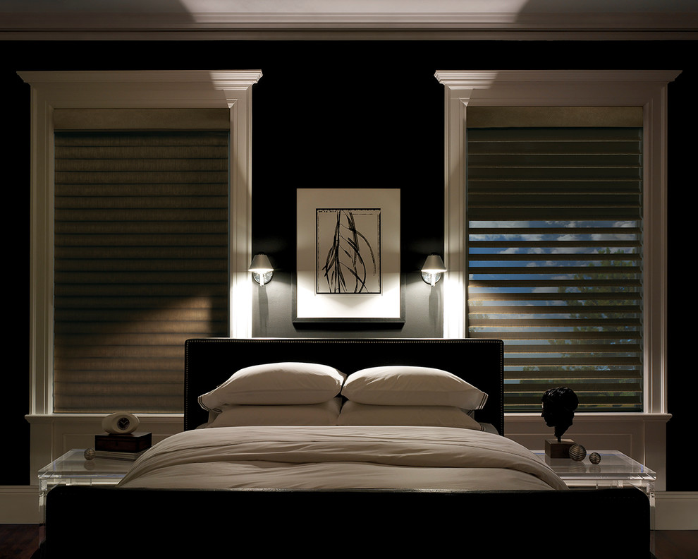 Hunter Douglas Silhouette Bedroom Contemporary with a Deux System Bedroom Window Treatments Bedroom4