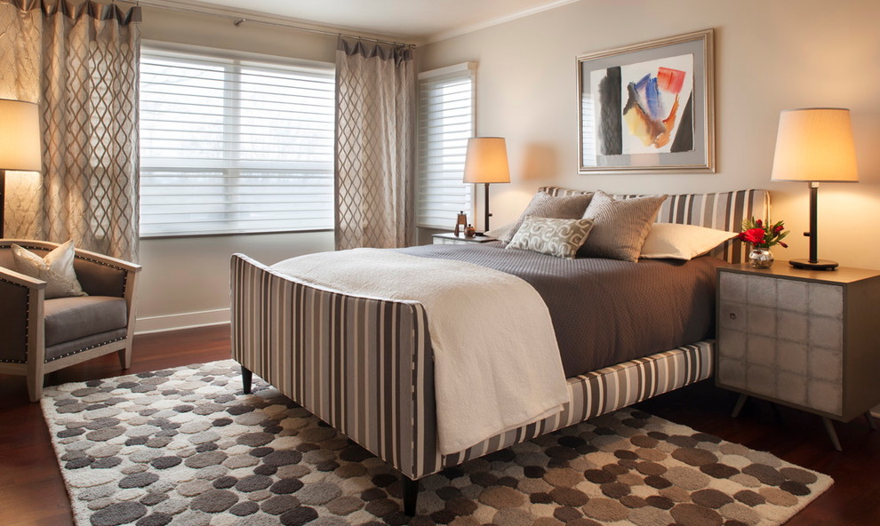 Hunter Douglas Silhouette Bedroom Contemporary with Area Rug Armchair Bedding Beige Wall Curtains2