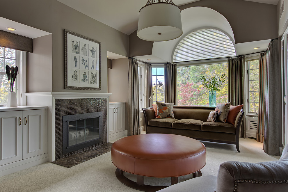 Hunter Douglas Silhouette Bedroom Transitional with Arched Window Art Above Fireplace Bay Window2