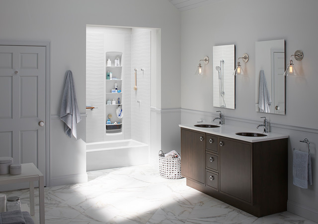 Hurricane Candle Holders Spaces Transitional with Bath Tub Bathroom Family Bath Grey Jack and Jill