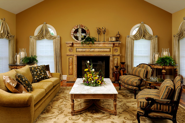 Hurricane lanterns living room traditional with cabriole for Dark yellow living room