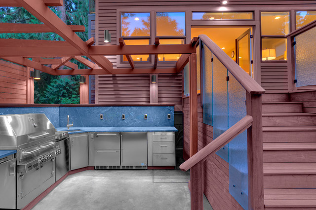 Hybrid Grills Patio Contemporary With Backyard Blue Backsplash Built In  Grill Cabinetry Cedar Charcoal Grill