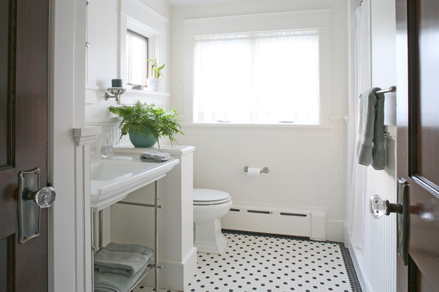 Hydronic Baseboard Heater Bathroom Craftsman with 1920 1930 Beadboard Black and White Classic Craftsman Floor