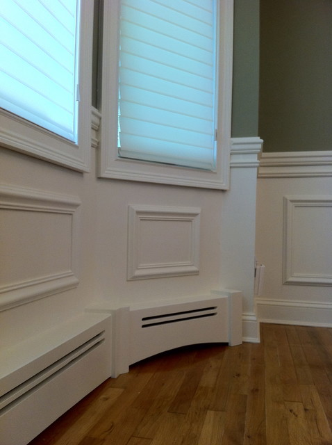 hydronic baseboard heater Kitchen Traditional with radiator covers Wall panel system wainscot panel
