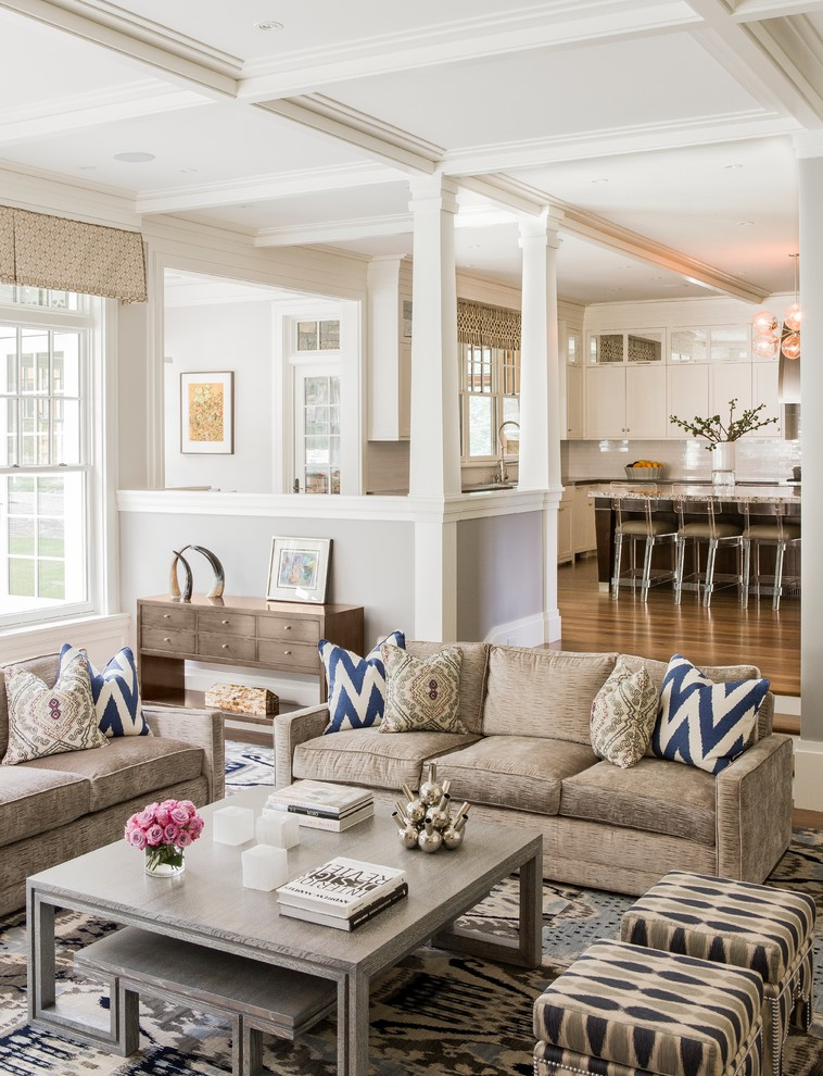 Ikat Pillows Family Room Transitional with Box Valance Curtains Brown and Blue Coffered