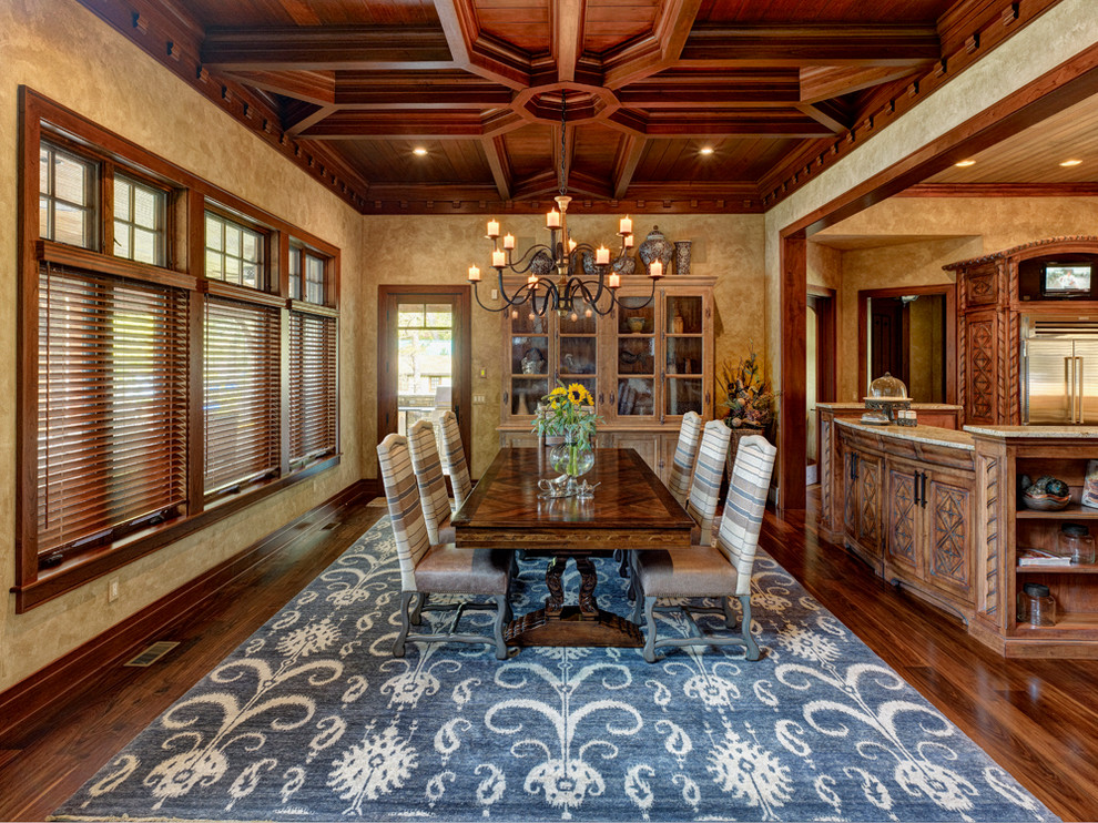 Ikat Rug Dining Room Traditional with Bar Baseboard Carved Chandelier Coffered Ceiling Earth