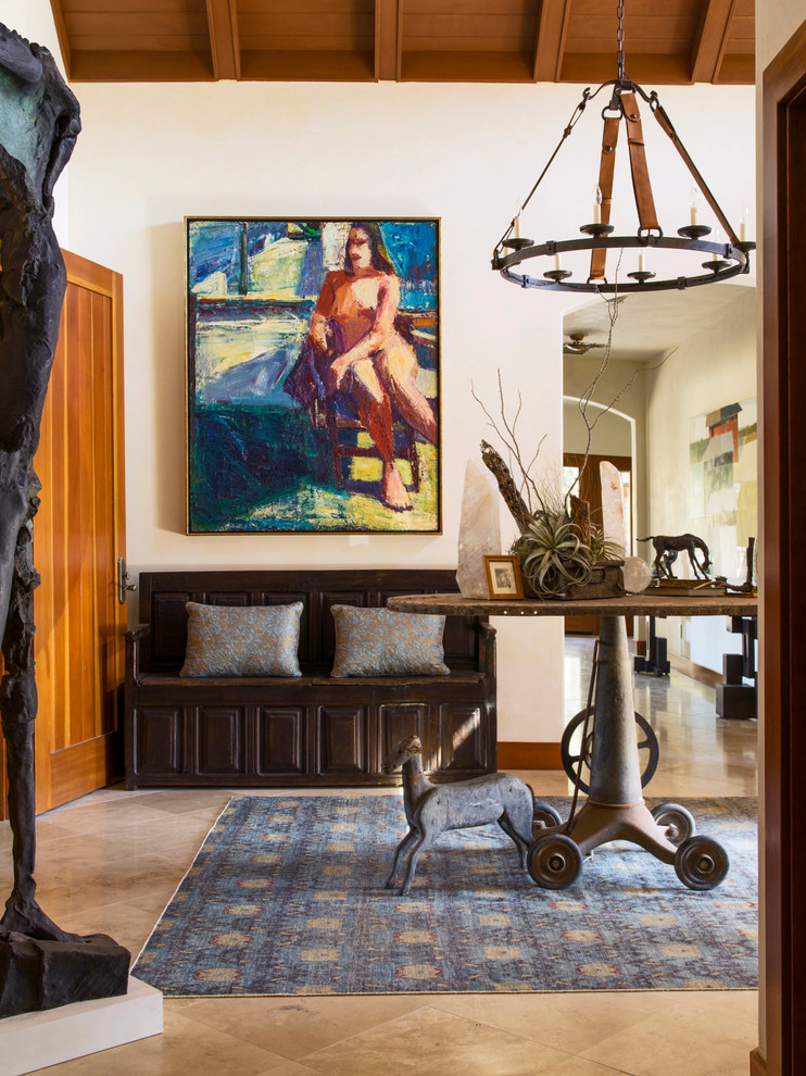 Ikat Rug Entry Eclectic with Area Rug Bench Chandelier Cushions Foyer Hall
