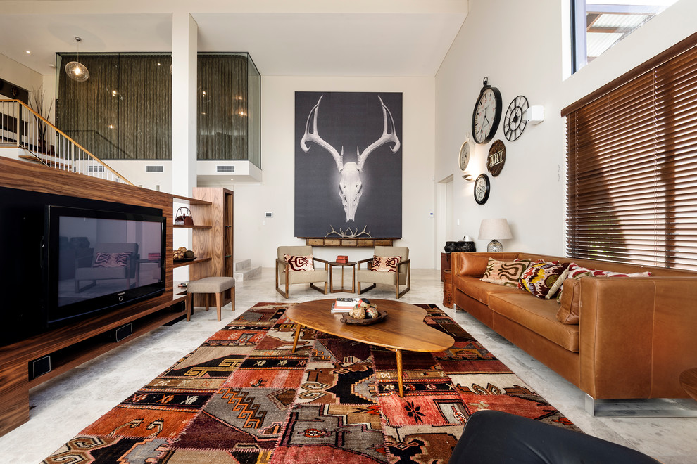 Ikat Rug Living Room Southwestern with Area Rug Biomorphic Brown Leather Sofa Large