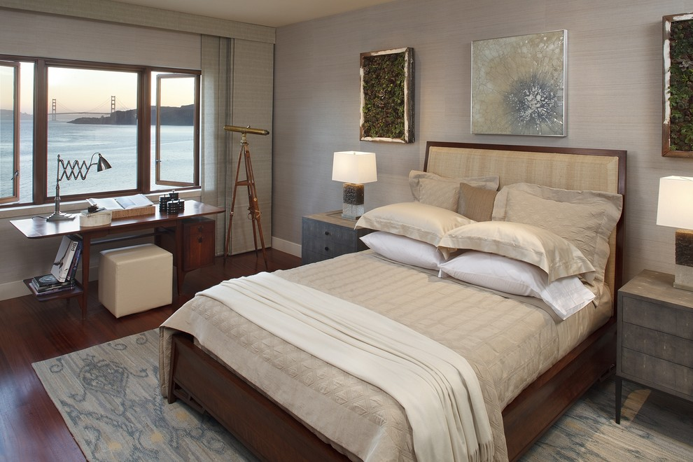 ikat rugs Bedroom Modern with artwork bed pillows bedside table casement windows