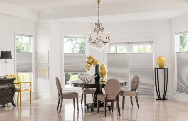 ikea bedside table Dining Room Contemporary with cellular shades chandeliers curtains dining room drapery drapes Neutral