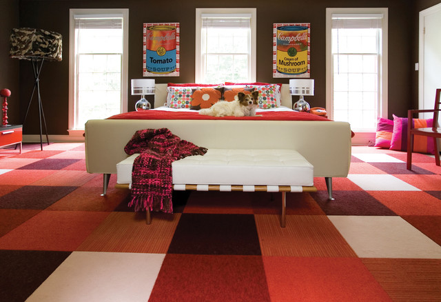 Ikea Carpets Bedroom Contemporary with Bedroom Bench Brown Walls Campbells Soup Checkerboard Chocolate Dog