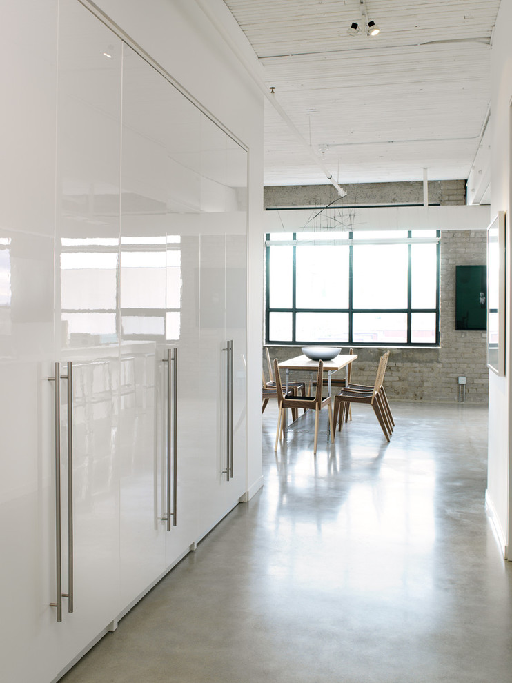 Ikea Closet Systems Entry Industrial with Brick Wall Built in Storage Dining Room