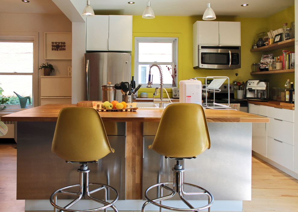 Ikea Counter Stools Kitchen Eclectic with Bold Butcher Block Colorful Flat Panel Cabinets