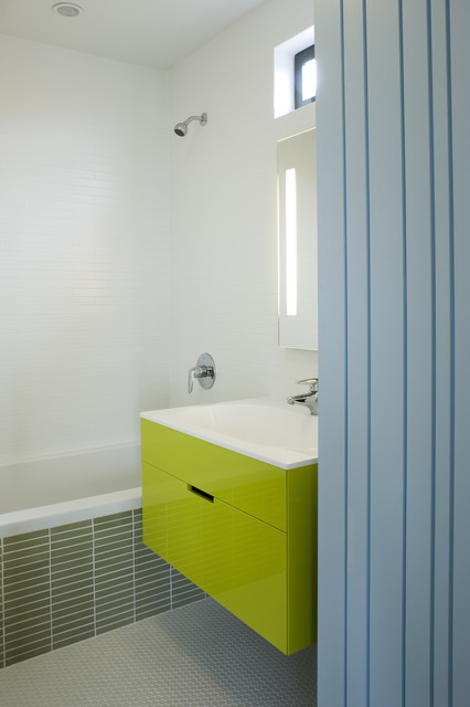 Ikea Deck Tiles Bathroom Modern with Bold Colors Bright Colors Clerestory Floating Vanity Minimal Neon