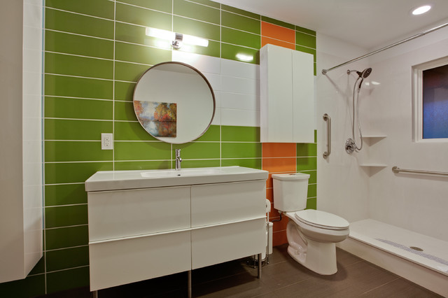 Ikea Deck Tiles Bathroom Modern with Cabinet Contemporary Cultured Marble Floor Tile Green Mid Century