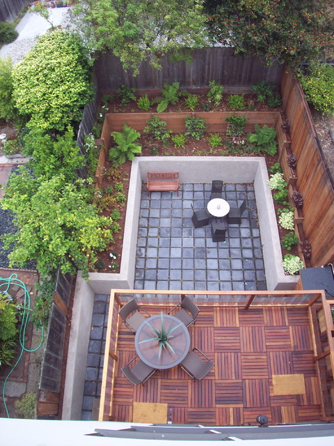 Ikea Deck Tiles Landscape Contemporary with Back Yard Bench Seat Concrete Deck Garden Wall Landscaping