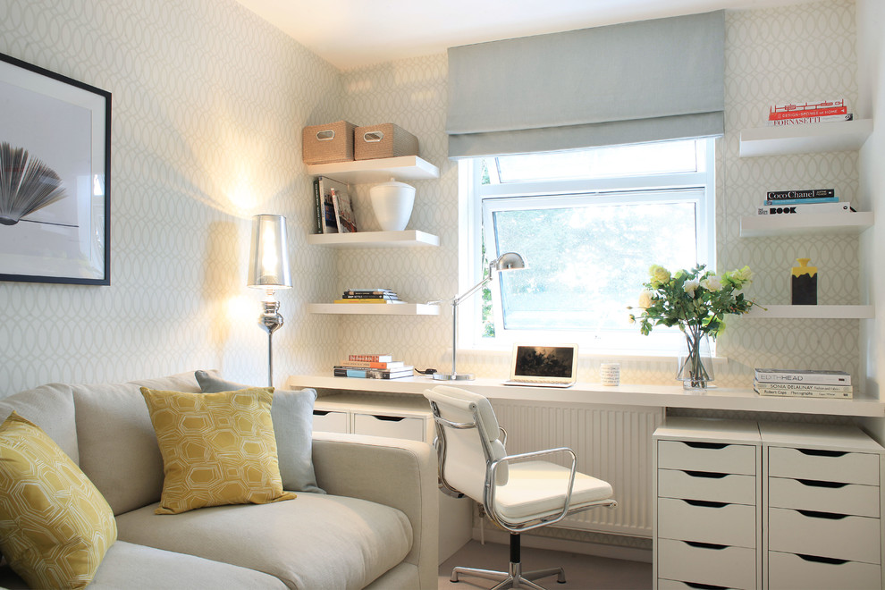 ikea-filing-cabinet-Home-Office-Eclectic-with-bird-blanket-desk ...