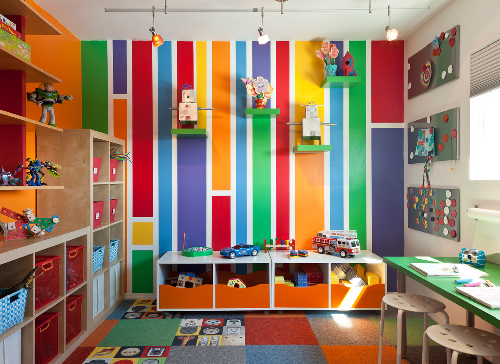 Ikea Magnetic Board Kids Midcentury with Accent Wall Bookcases Carpet Flor Carpet Tiles