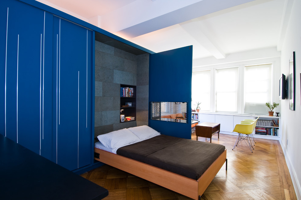 Ikea Murphy Bed Bedroom Contemporary with Blue Casters Coffee Table Custom Cabinetry Day
