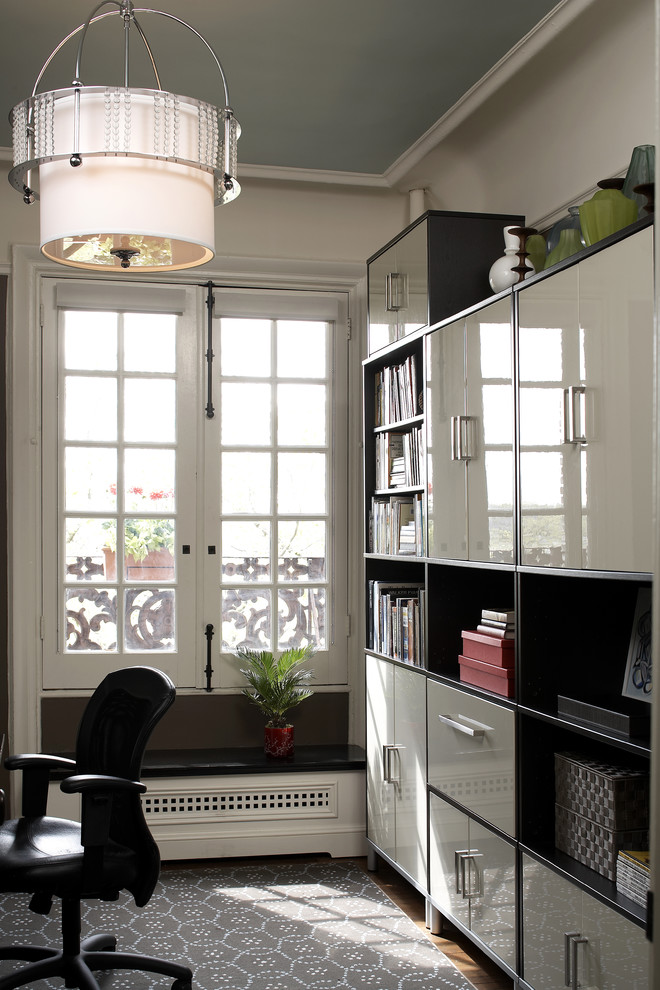 Ikea Sectional Home Office Contemporary with Area Rug Bookcase Bookshelves Casement Windows Crown
