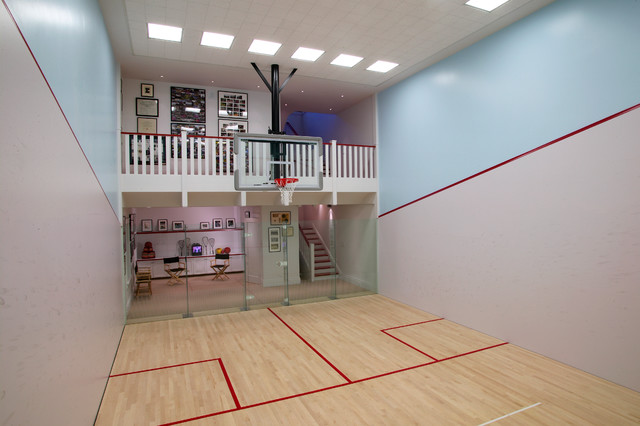 In Ground Basketball Hoop Home Gym Traditional with Basketball Court Ceiling Lights Directors Chair Glass Door Glass
