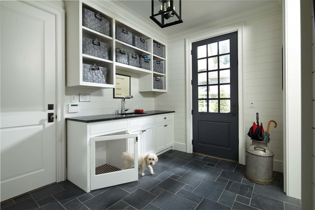 Indoor Dog Kennel Entry Traditional with Baskets Black Countertop Board Walls Colonial Crown Dog Dog