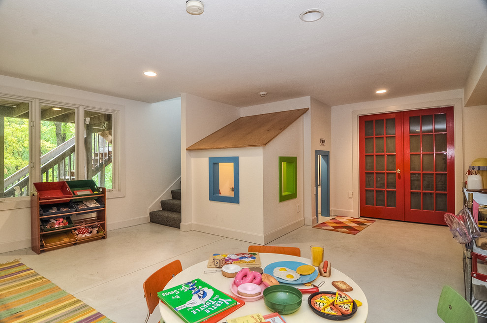 Indoor Playhouse Kids Contemporary with Basement Ceiling Lighting Color Blocking Colorful French
