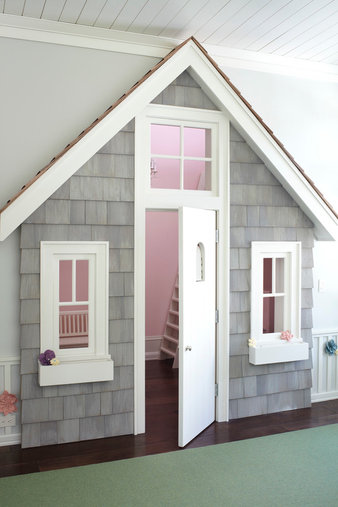 Indoor Playhouse Kids Contemporary With Attic Bookshelves