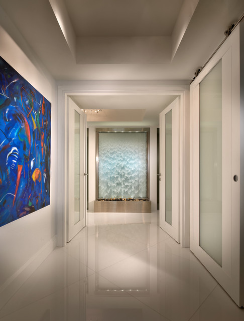 Indoor Waterfall Fountain Hall Contemporary with Contemporary Design Custom Doors Frosted Glass Door High Gloss
