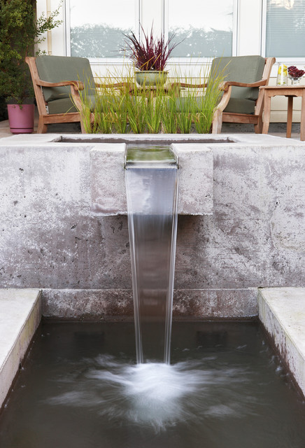 Indoor Waterfall Fountain Landscape Contemporary with Basin Chairs Concrete Fountain Grasses Modern Outdoor Chairs Outdoor