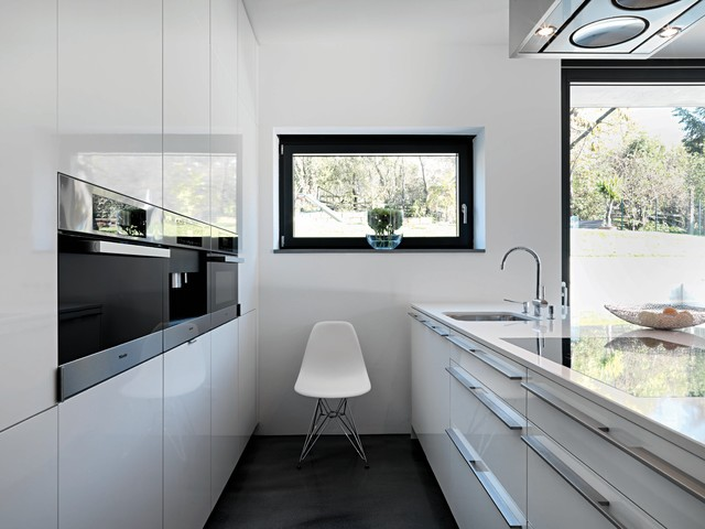 Induction Stovetop Kitchen Contemporary with Black and White Black Floor Black Window Eames Shell