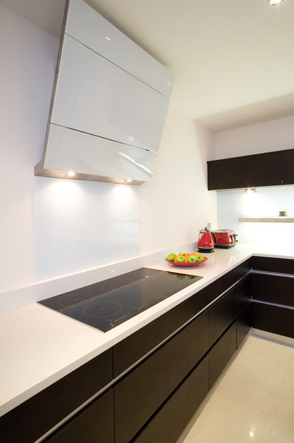 Induction Stovetop Kitchen Contemporary with Black Cabinets Brown Cabinet Flat Cooktop Flat Panel Fruit