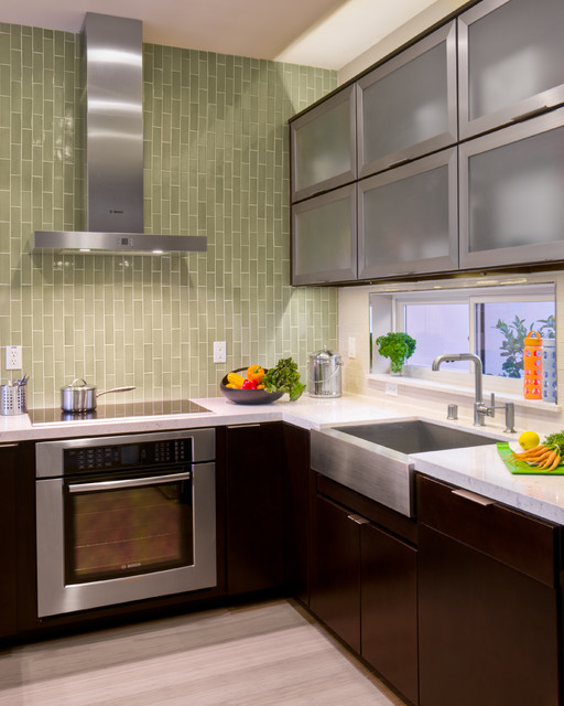 Induction Stovetop Kitchen Contemporary with Contemporary Frosted Glass Cabinets Green Tile Modern Oven Oven