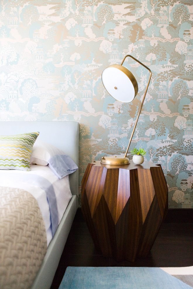 Industrial Nightstand Bedroom Contemporary with Asian Wall Paper Blue Headboard Cut Wood