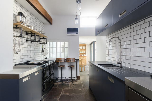 Industrial Pipe Shelving Kitchen Industrial With Bar Stools